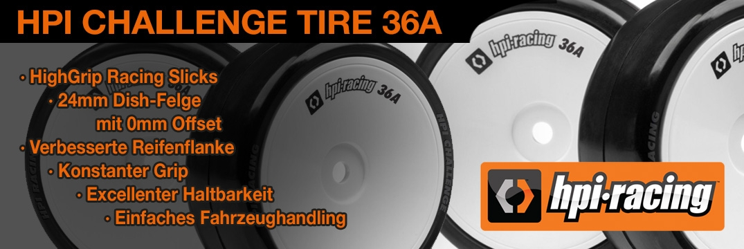 HPI CHALLENGE TIRE 36A (MOUNTED/4PCS)