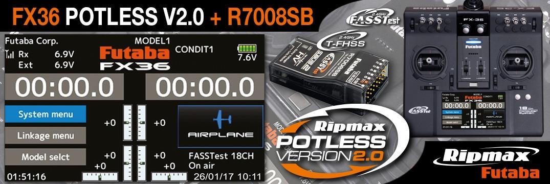 FUTABA FX36 Potless V2.0 2.4GHz + R7008SB 2.4GHz